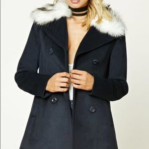 Navy Pea Coat with Faux Fur Collar